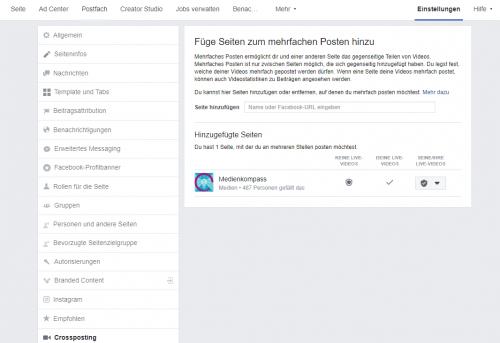 Screenshot Facebook: Bestätigte Crossposting-Beziehung zwischen zwei Unternehmensseiten