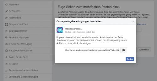 Screenshot Facebook: Über einen Bestätigungslink wird die Crossposting-Beziehung aufgebaut