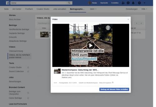 Facebook-Screenshot: Crossposting-Video bearbeiten und als eigenen Beitrag teilen