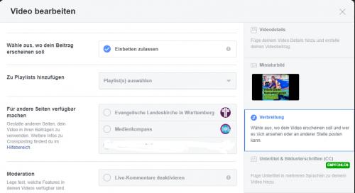 Screenshot Facebook: Videos für andere Seiten via Crossposting freigeben
