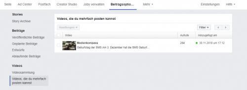 Facebook-Screenshot: Übersicht über Videos, die via Crossposting geteilt werden können