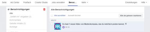 Screenshot Facebook: Benachrichtigung für ein verfügbares Crossposting-Video