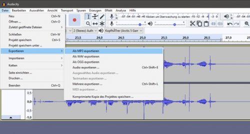 Audacity: Exportieren im MP3-Format