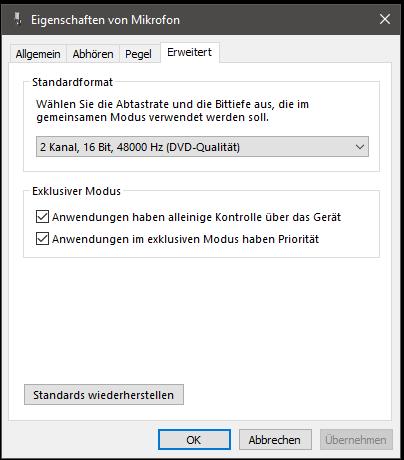 Windows 10: Zusätzliche Geräteeigenschaften - Erweitert
