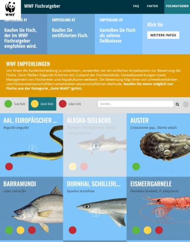 Oberfläche der Fischratgeber App
