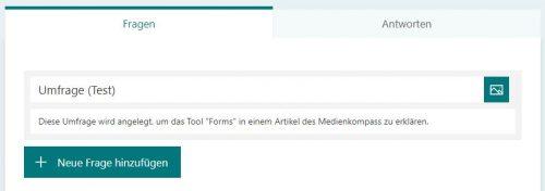 Screenshot von MS-Forms für Umfragen: Neu Frage hinzufügen