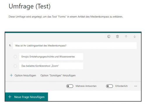 Screenshot von MS-Forms für Umfragen: Fragen und Anwortmöglichkeiten definieren