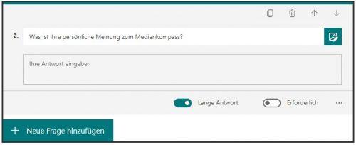 Screenshot von MS-Forms für Umfragen: Freitext als Antwortmöglichkeit eingeben