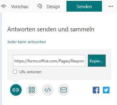Screenshot von MS-Forms für Umfragen: Umfrage via Link teilen