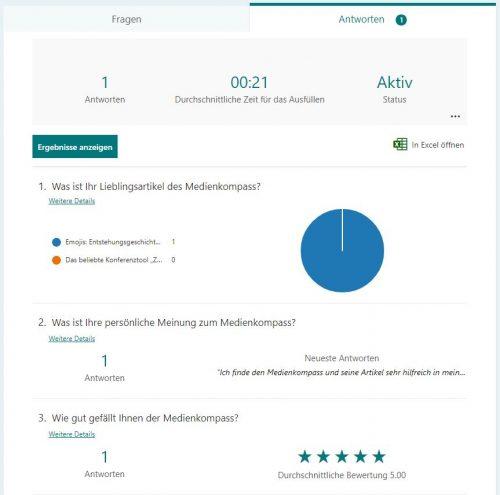 Screenshot von MS-Forms für Umfragen: Auswertung